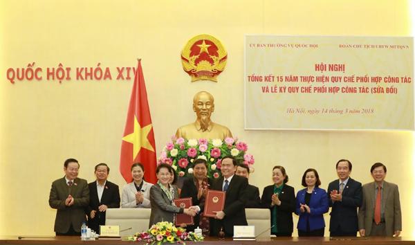 Nâng cao hiệu quả phối hợp giữa Ủy ban Thường vụ Quốc hội và Mặt trận Tổ quốc Việt Nam