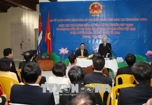 Tổng Bí thư gặp cán bộ, nhân viên Đại sứ quán và cộng đồng người Việt Nam tại Cuba