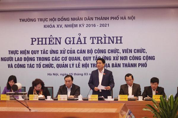 Thường trực HĐND TP Hà Nội họp phiên giải trình về việc thực hiện 2 quy tắc ứng xử và quản lý lễ hội