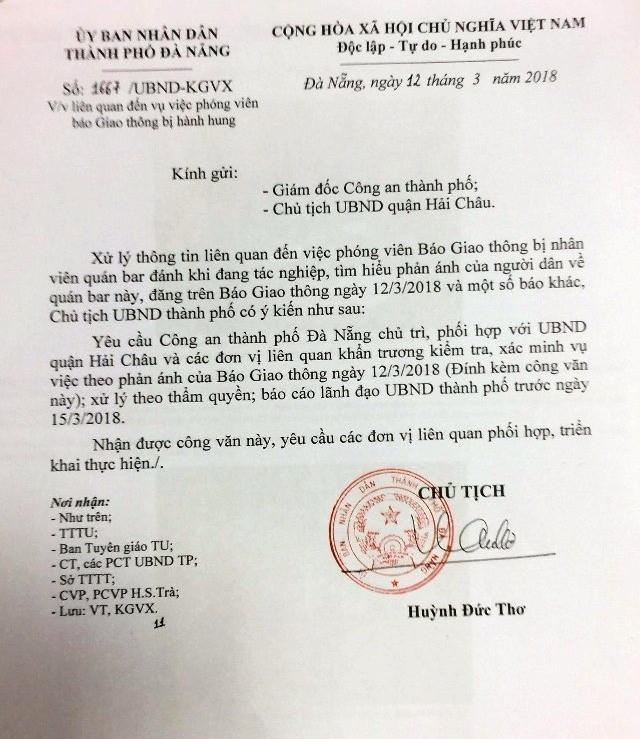 Chủ tịch Đà Nẵng chỉ đạo xử lý vụ phóng viên bị hành hung khi đang tác nghiệp