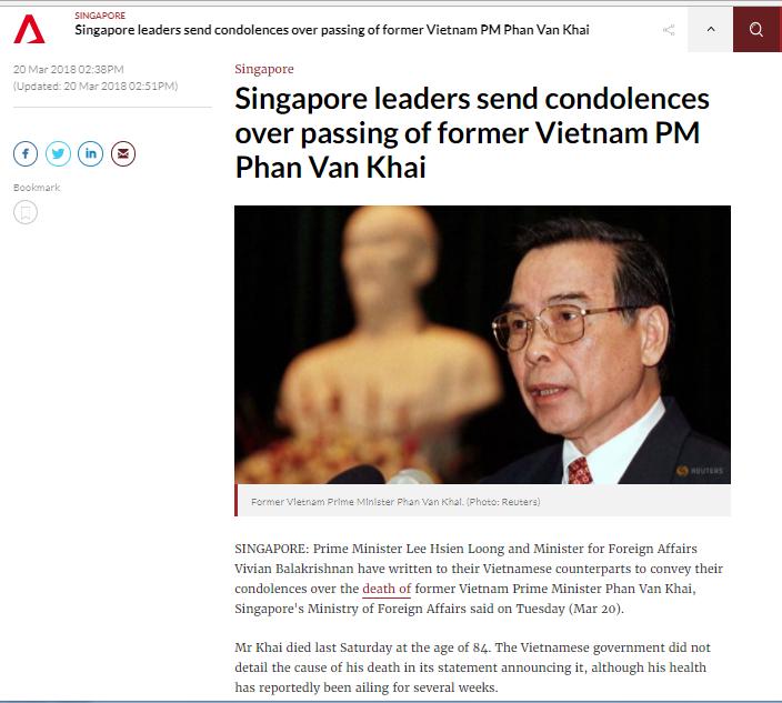 Truyền thông quốc tế viết về nguyên Thủ tướng Phan Văn Khải