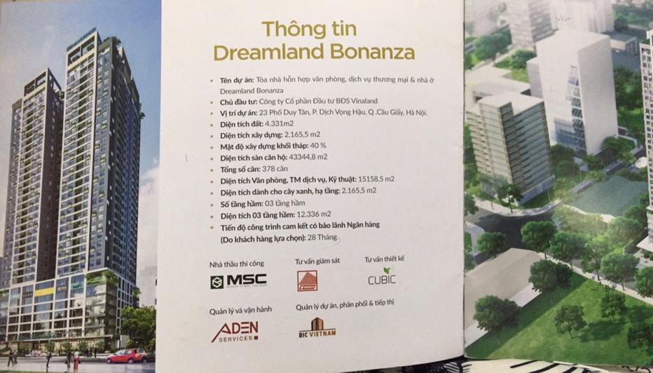 Dự án Dreamland Bonanza 23 Duy Tân: Dấu hiệu mập mờ về tính pháp lý