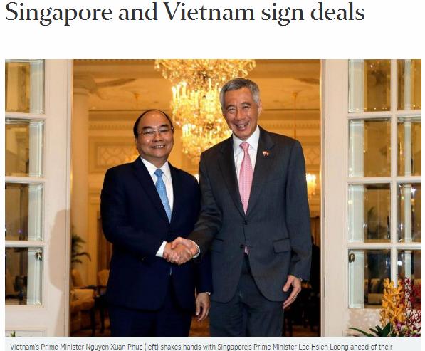 Báo chí Singapore đánh giá cao chuyến thăm của Thủ tướng Nguyễn Xuân Phúc