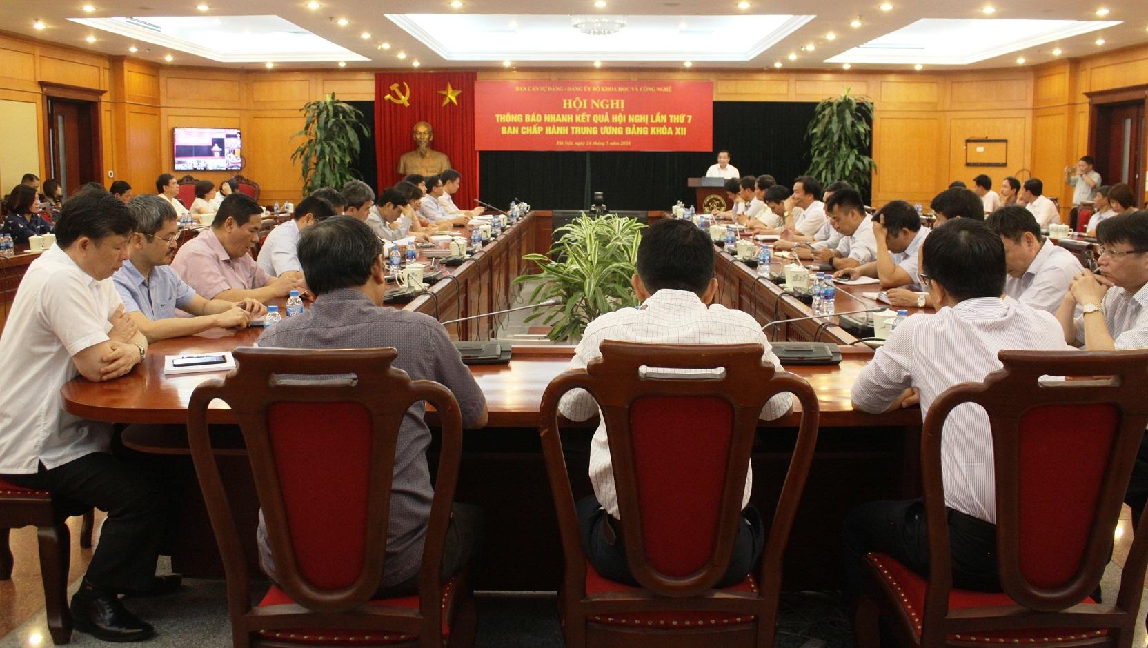 Đảng ủy Bộ Khoa học và Công nghệ thông báo nhanh kết quả Hội nghị Trung ương 7 khóa XII