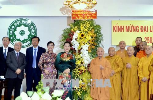 Đồng chí Nguyễn Thị Kim Ngân chúc mừng lễ Phật đản tại TP Hồ Chí Minh