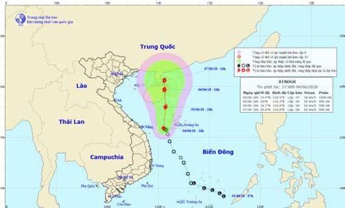 Trong 24 giờ tới, áp thấp nhiệt đới khả năng mạnh lên thành bão