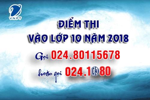 Tổng đài 1080 VNPT Hà Nội cung cấp tra cứu điểm thi vào lớp 10 năm 2018