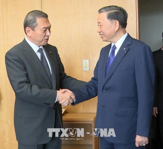 Bộ trưởng Bộ Công an Tô Lâm làm việc với Chủ tịch Ủy ban Công an quốc gia và Tư lệnh Cảnh sát quốc gia Nhật Bản
