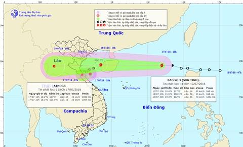 Từ chiều 18/7, bão số 3 sẽ gây mưa rất to ở Bắc Bộ và Trung Bộ