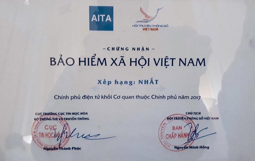 Bảo hiểm xã hội Việt Nam đứng đầu chỉ số xếp hạng ứng dụng công nghệ thông tin và xây dựng Chính phủ điện tử
