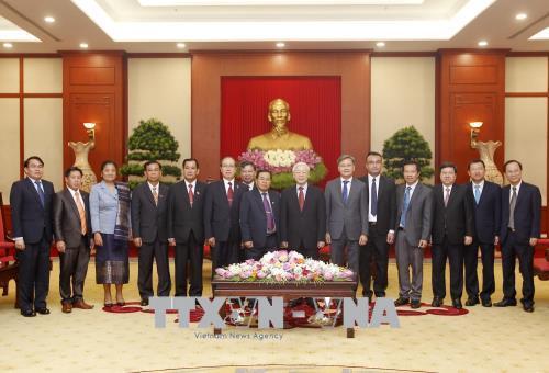 Tổng Bí thư Nguyễn Phú Trọng tiếp Đoàn đại biểu Quốc hội Lào