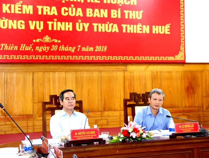 Kiểm tra việc thực hiện Nghị quyết số 18-NQ/TW và 19-NQ/TW tại Thừa Thiên Huế