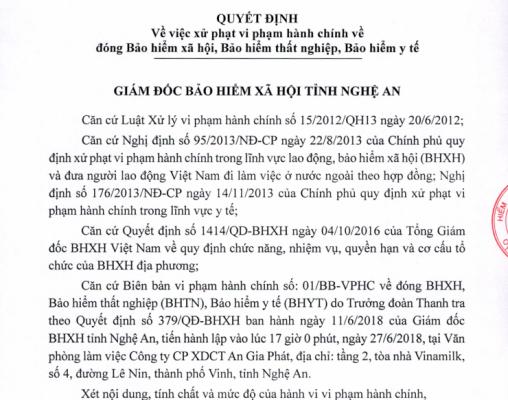 Nghệ An: Xử phạt 2 Công ty vi phạm hành chính về đóng BHXH, BHYT
