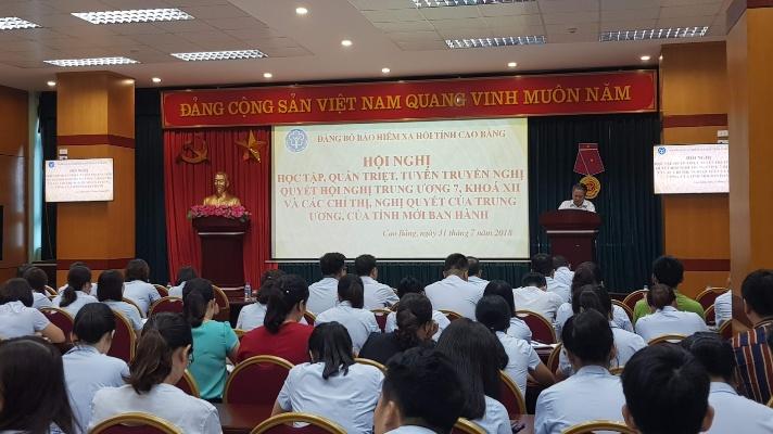 BHXH tỉnh Cao Bằng:Tổ chức Hội nghị học tập, quán triệt Nghị quyết Trung ương 7 khóa XII