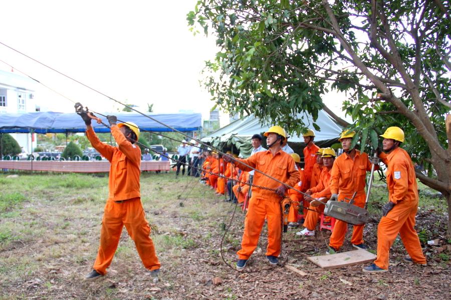 Diễn tập phòng chống thiên tai và tìm kiếm cứu nạn tại điện lực Bình Định