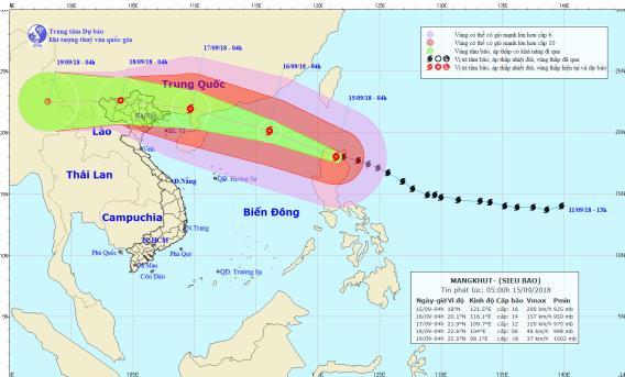 Hoàn lưu siêu bão Mangkhut sẽ gây mưa rất to cho Bắc Bộ và Bắc Trung Bộ từ ngày 17 - 19/9