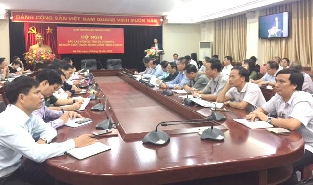 Hội nghị trực tuyến Báo cáo viên các tỉnh ủy, thành ủy, đảng ủy trực thuộc Trung ương tháng 10/2018
