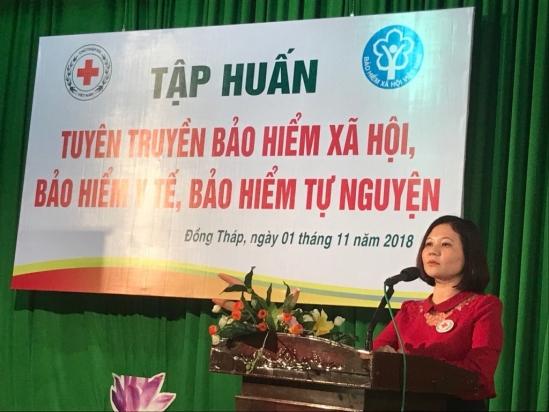Tuyên truyền chính sách bảo hiểm cho các hội viên Hội Chữ Thập đỏ Đồng Tháp