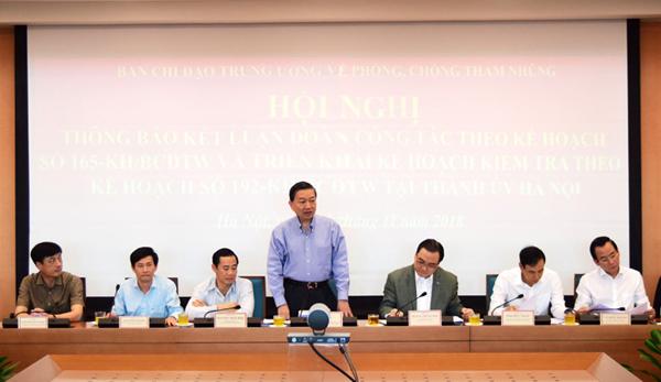 Đoàn công tác Ban chỉ đạo Trung ương về phòng, chống tham nhũng làm việc với Thành ủy Hà Nội