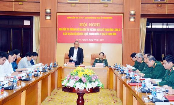 Thông báo kết quả kiểm tra thực hiện Nghị quyết Trung ương 4 (khóa XII) đối với Ban Thường vụ Quân ủy Trung ương