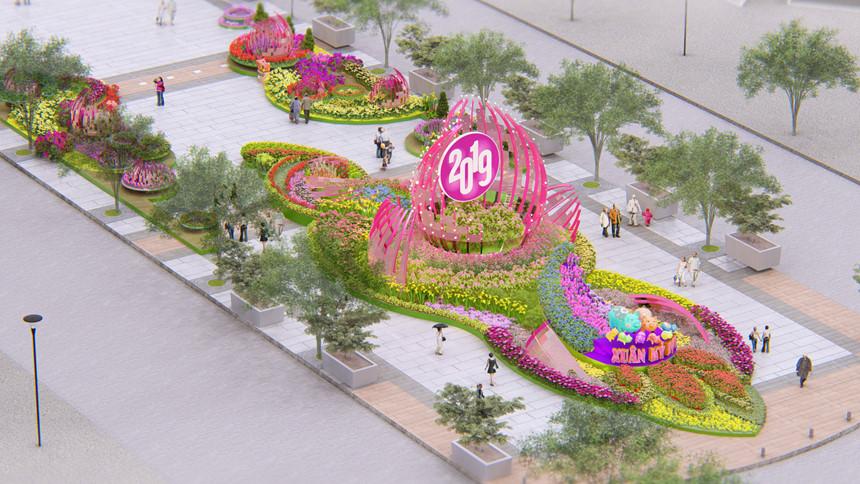 Công bố phối cảnh đường hoa Tết Kỷ Hợi trên phố Nguyễn Huệ