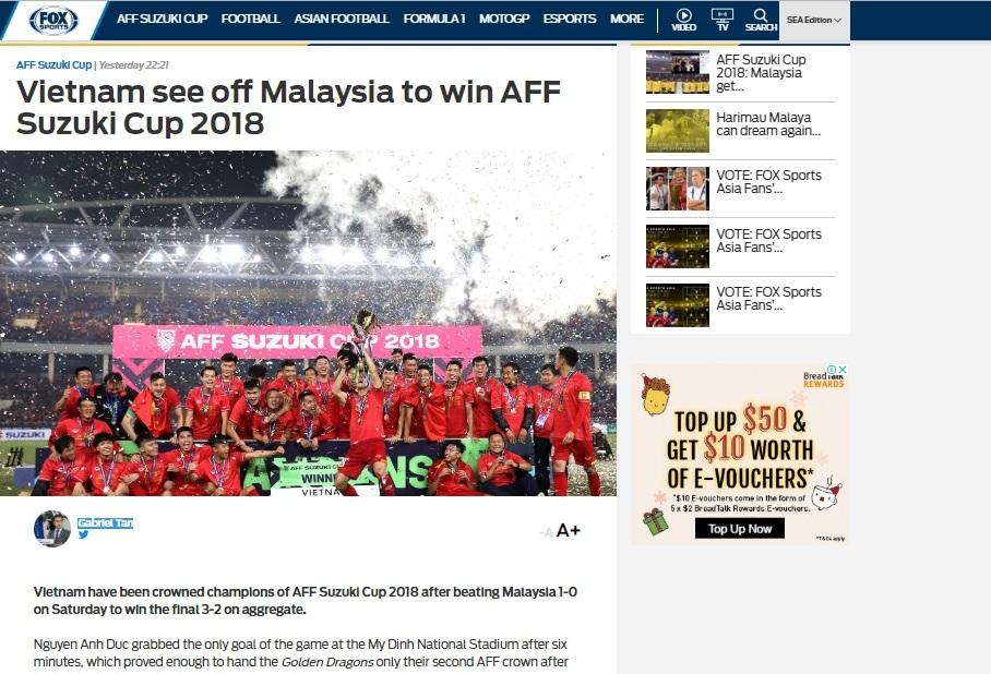 Truyền thông quốc tế khen ngợi bóng đá Việt Nam