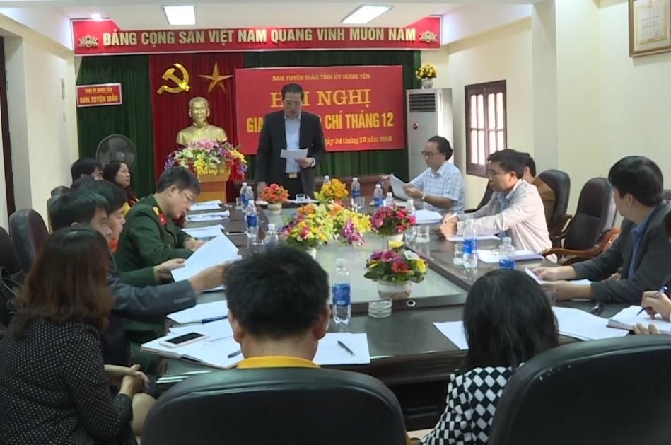 Giao ban báo chí Hưng Yên tháng 12