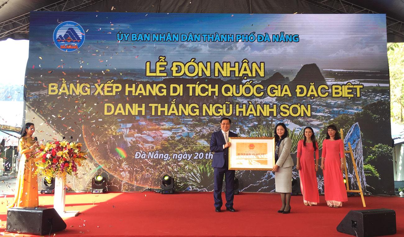 Danh thắng Ngũ Hành Sơn đón nhận Bằng xếp hạng di tích quốc gia đặc biệt