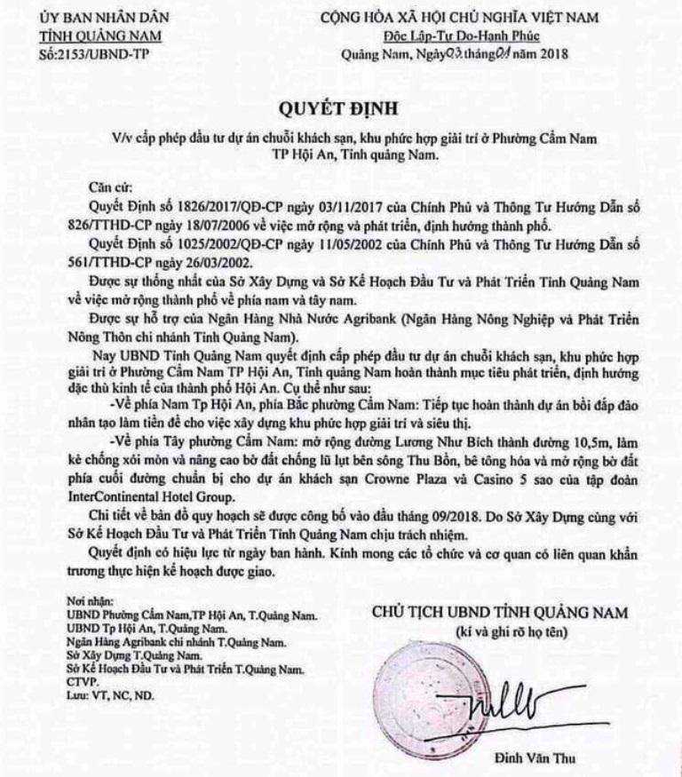 """Giả mạo quyết định của Chủ tịch UBND tỉnh Quảng Nam để """"thổi"""" giá đất"""