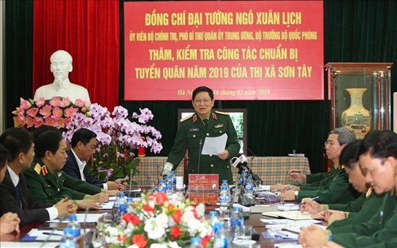 Đại tướng Ngô Xuân Lịch kiểm tra công tác chuẩn bị tuyển quân tại Sơn Tây, Hà Nội