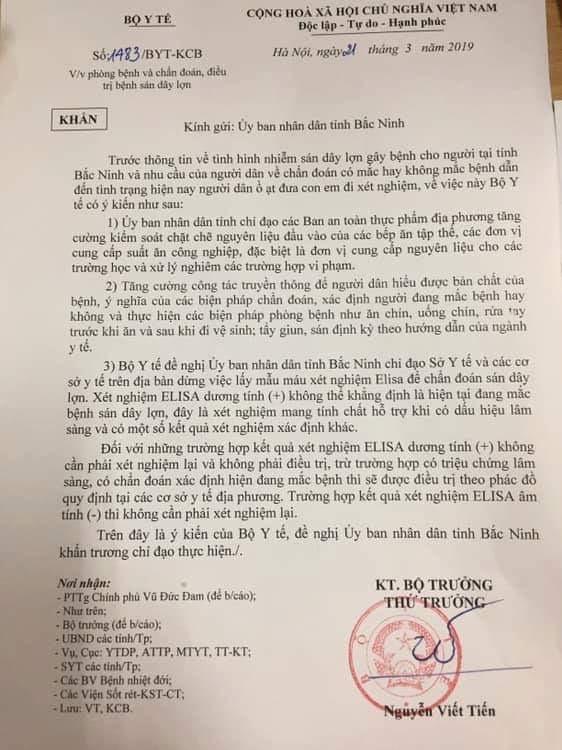 Bộ Y tế đề nghị Bắc Ninh dừng lấy mẫu xét nghiệm sán lợn