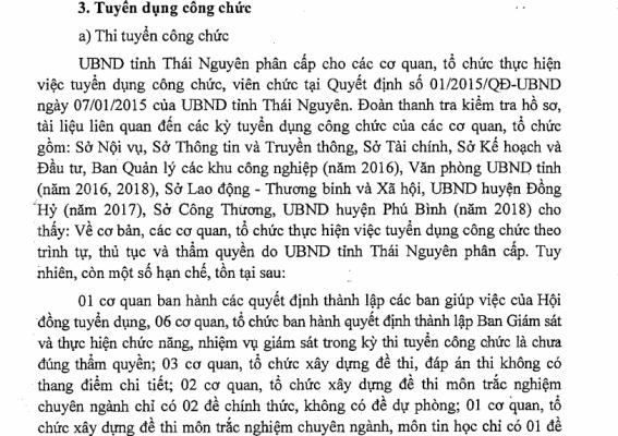 Công bố kết luận thanh tra việc tuyển dụng, bổ nhiệm tại Thái Nguyên