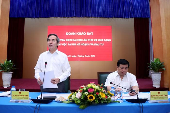 Đoàn Tiểu ban Văn kiện Đại hội XIII làm việc tại Bộ Kế hoạch và Đầu tư