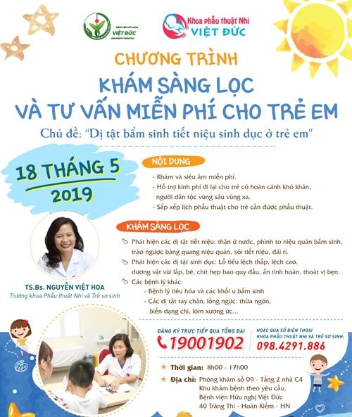 Bệnh viện Hữu nghị Việt Đức khám sàng lọc và tư vấn miễn phí cho trẻ em