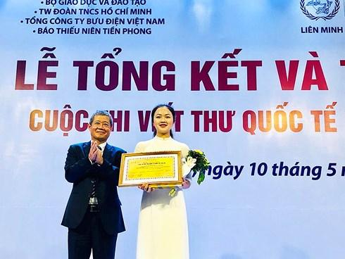 Nữ sinh Hải Dương giành giải Nhất quốc gia viết thư UPU lần thứ 48