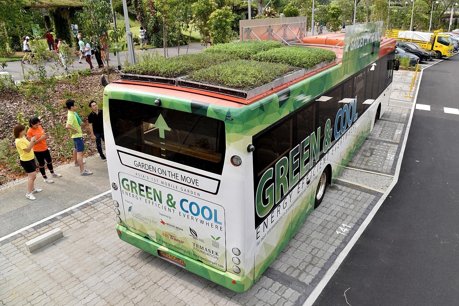 Trồng cây xanh trên nóc xe buýt