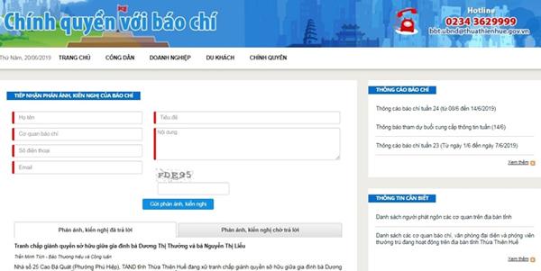 """Thừa Thiên Huế ra mắt kênh tương tác """"Chính quyền với báo chí"""""""