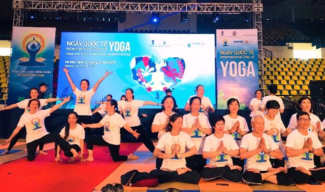 Hơn 800 người tham dự Ngày quốc tế Yoga lần thứ 5 tại Hà Nội