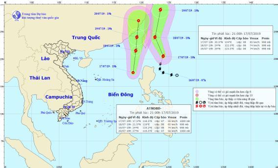 Cùng với bão Danas, Biển Đông xuất hiện thêm một áp thấp nhiệt đới