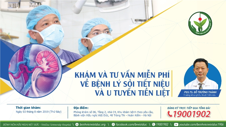 Khám và tư vấn miễn phí bệnh lý sỏi tiết niệu và u tuyến tiền liệt