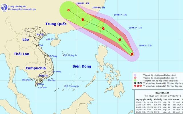 Bão Bailu giật cấp 11 theo hướng Tây Bắc, Bắc Trung Bộ mưa to và dông  