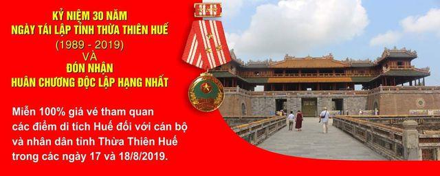 Miễn vé tham quan di tích cho người dân Huế nhân dịp 30 năm tái lập tỉnh
