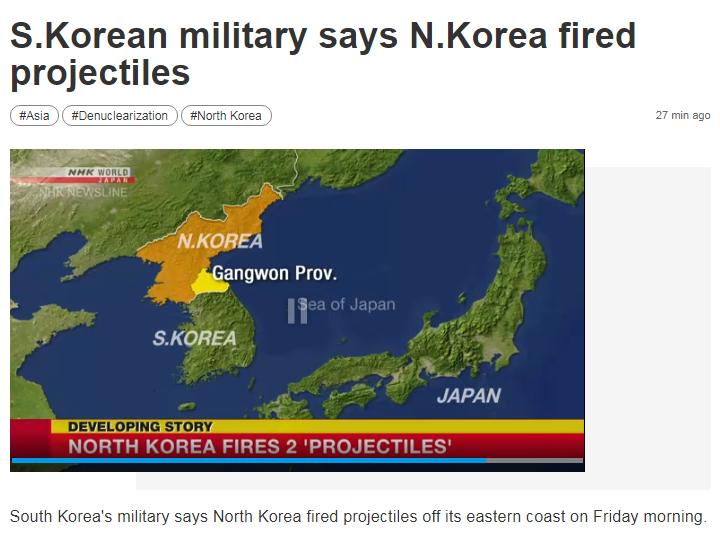 Triều Tiên phóng hai vật thể về phía biển Nhật Bản