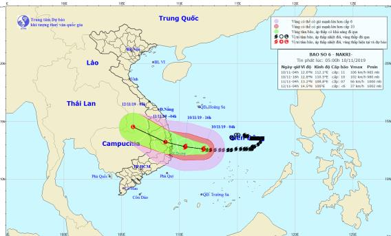 Chiều tối nay bão số 6 vào các tỉnh từ Quảng Ngãi đến Khánh Hoà