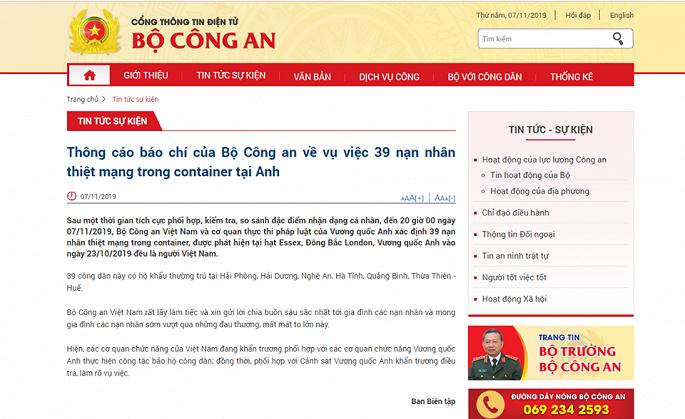 39 nạn nhân thiệt mạng trong container tại Anh đều là người Việt Nam