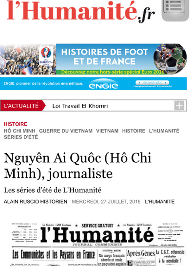 Journalist Nguyen Ai Quoc (Ho Chi Minh) through French historian's eyes