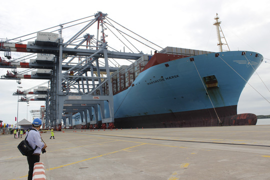 Giant container vessel docks at Cai Mep Port