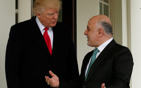 Donald Trump meets Haider al-Abadi at White House