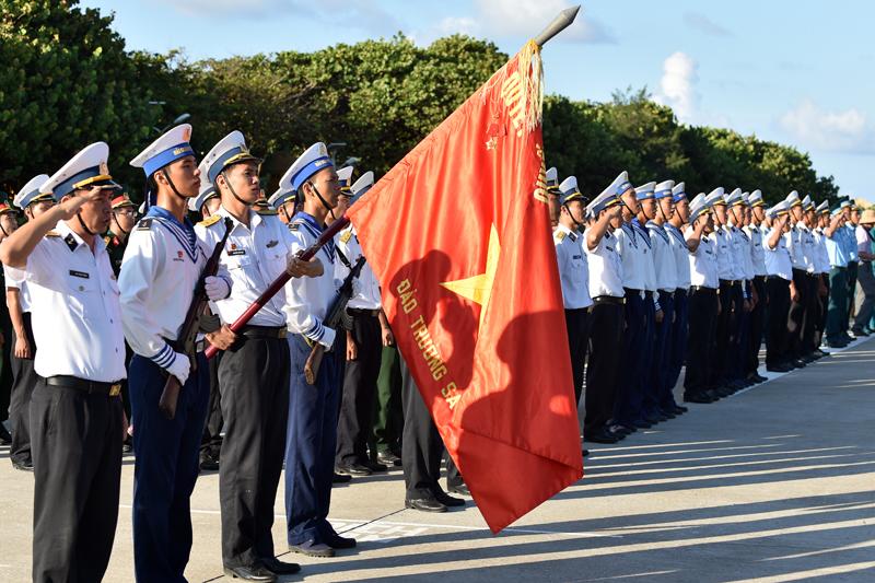 Holy national flag salute on Spratly Islands