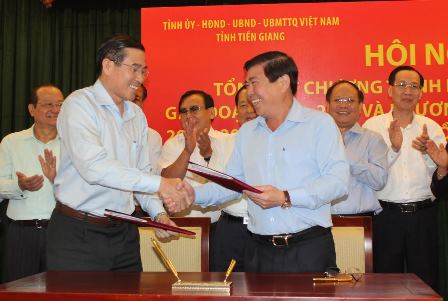 Ho Chi Minh city, Tien Giang sign cooperative deals for 14 fields